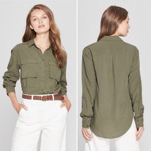 A New Day olive utility button down shirt